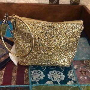 Thacker Leather Gold Glitter Bag